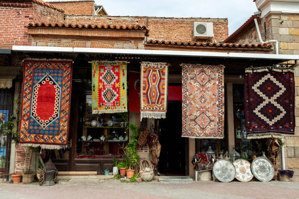 Carpet and rug shop. stock photo