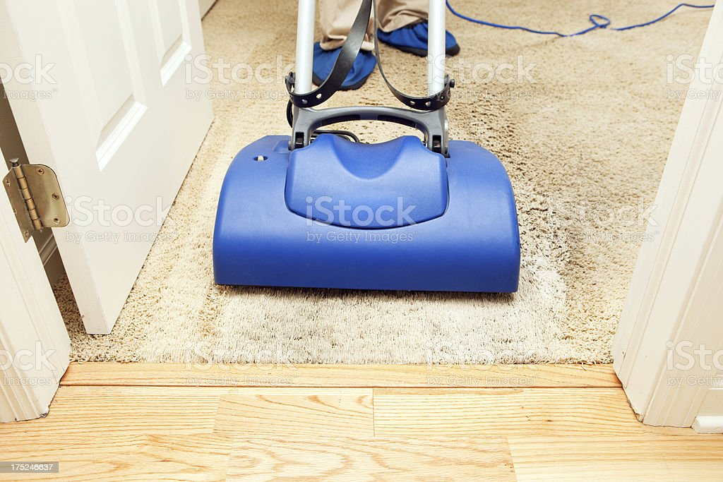 Carpet Cleaning with Brush Encapsulation Machine royalty-free stock photo