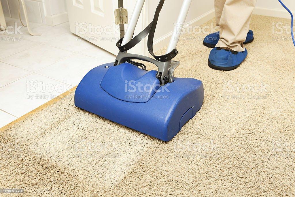 Carpet Cleaning with Brush Encapsulation Machine stock photo