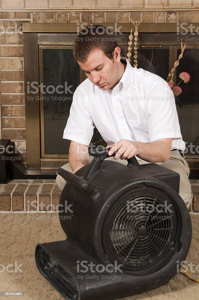 Carpet Cleaning Worker royalty-free stock photo