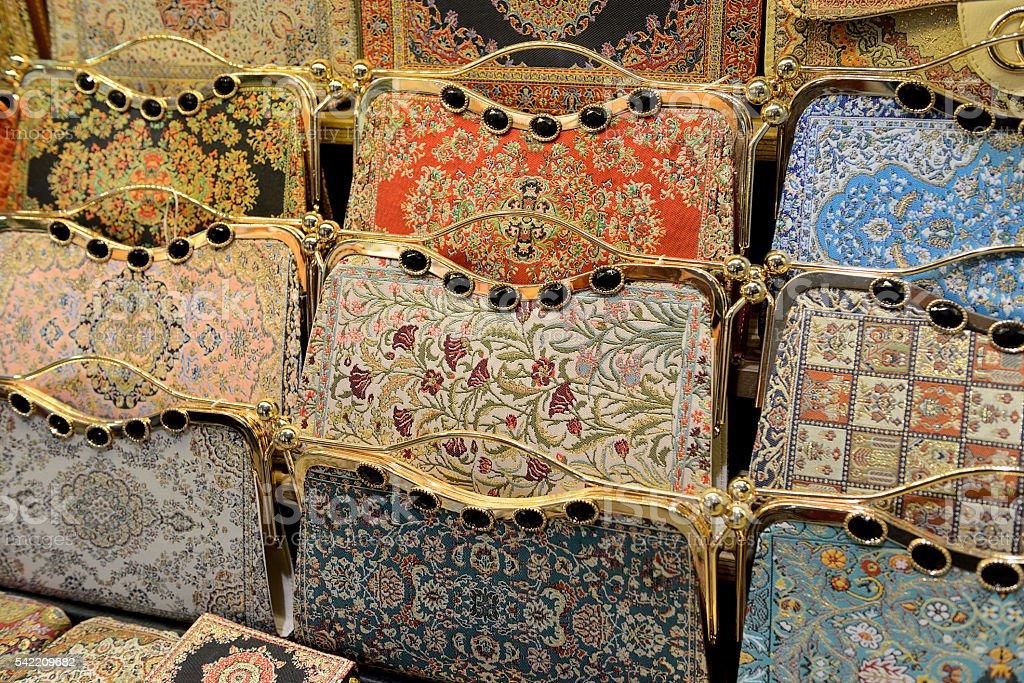 Carpet decor handbags at Grand Bazaar in Istanbul
