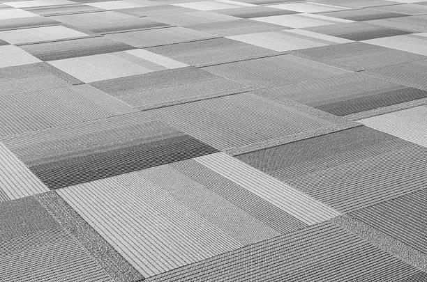 carpet floor in public hall - graues büro stock-fotos und bilder