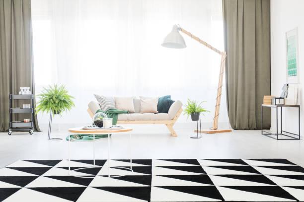 im hellen wohnzimmer teppich - oliven wohnzimmer stock-fotos und bilder