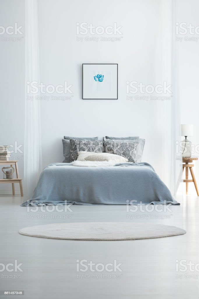 Carpet in cold bedroom interior stock photo