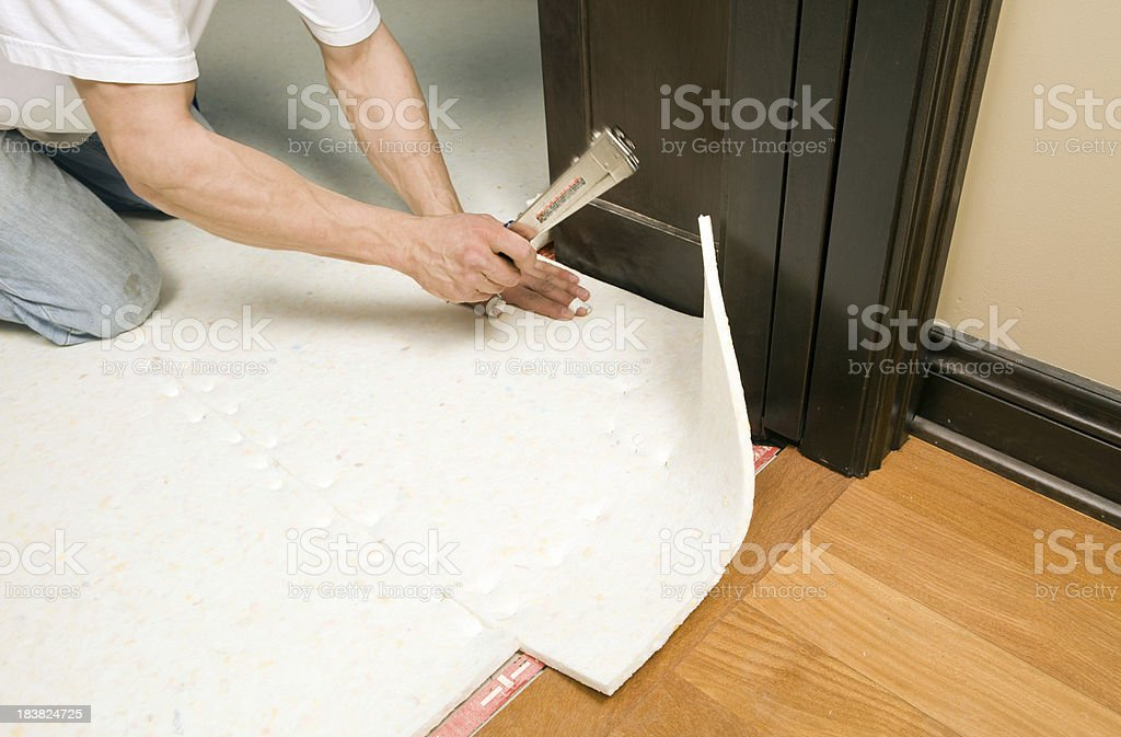 Carpet Installer Stapling Pad to Subfloor stock photo