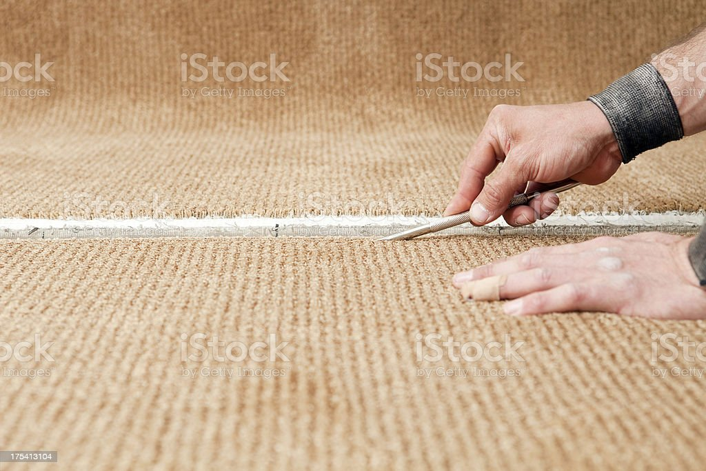 Carpet Installer Using Row Finder stock photo