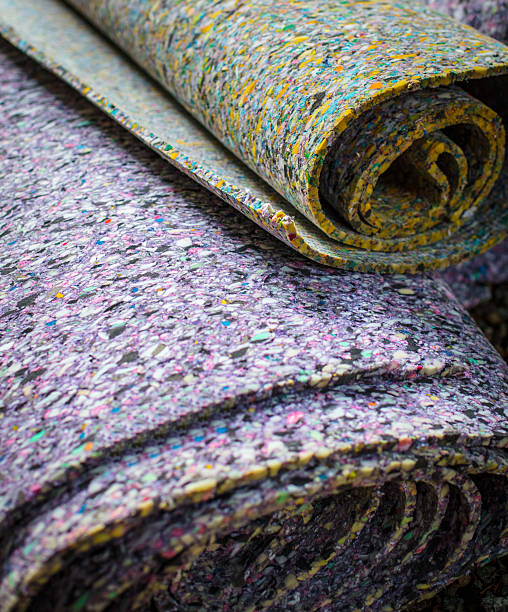 Carpet Padding Carpet padding up close in roll padding stock pictures, royalty-free photos & images
