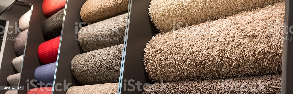 Carpet rolls stock photo