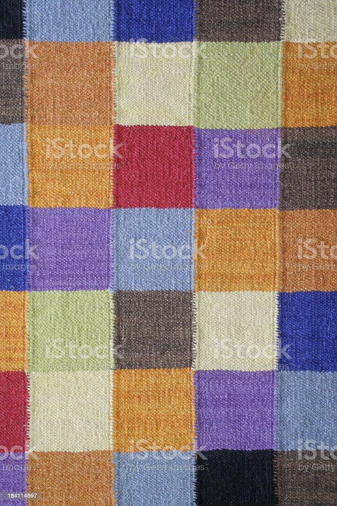 Carpet Rug in Woven Contemporary Square Color Block Textile Pattern stock photo