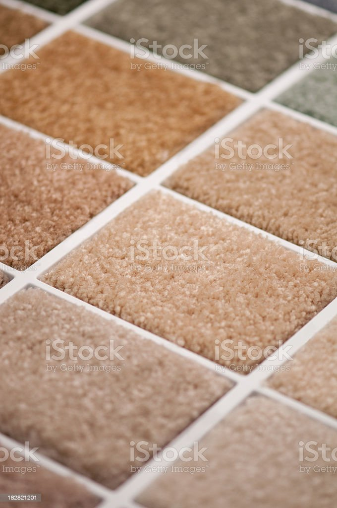 Carpet samples on board with selective focus royalty-free stock photo