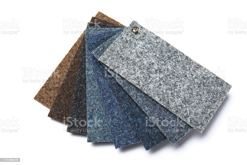 Carpet samples on white background stock photo