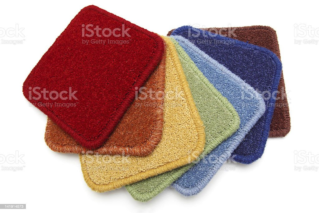 Carpet samples, rainbow stock photo