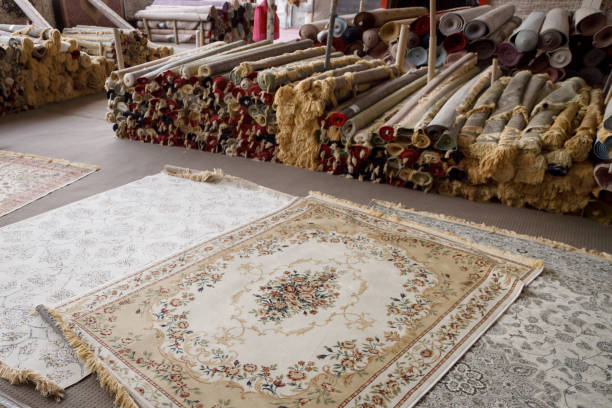 Carpet shop in Masafi Friday market on Dubai-Fujairah road stock photo