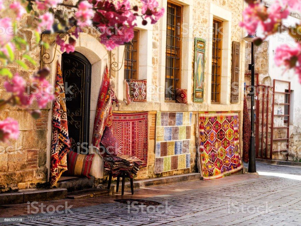 carpet store exterior in Antalya, Turkey stock photo