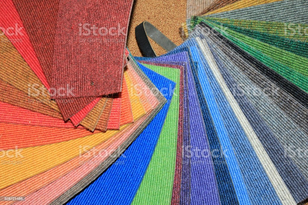 Carpet swatches in a shop stock photo