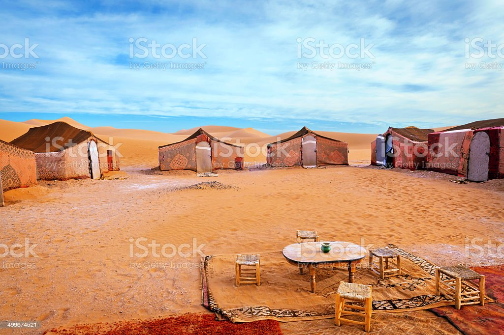 Carpet tents at Berber Camp in Erg Chigaga, Morocco stock photo