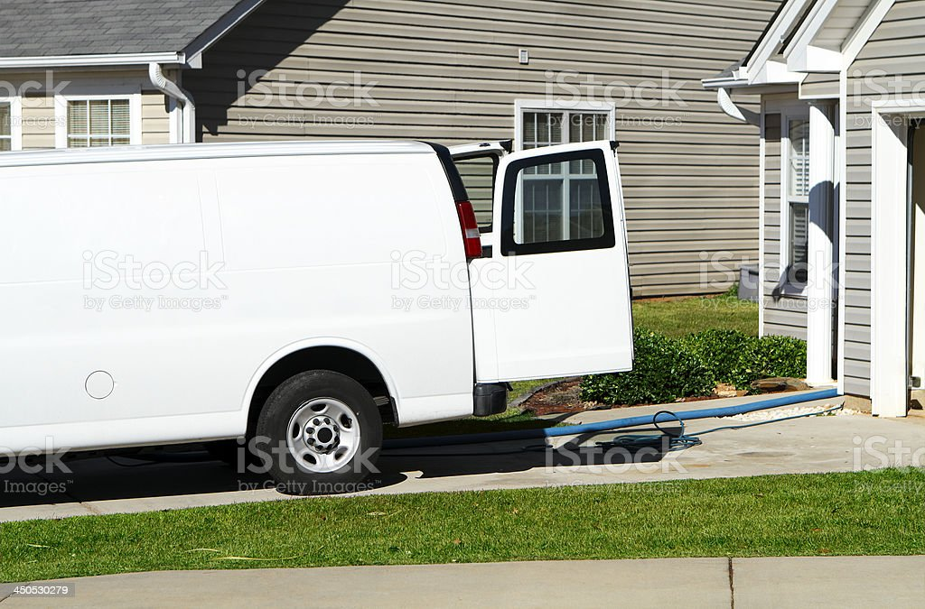 Carpet & Upholstery Cleaning Service Van stock photo