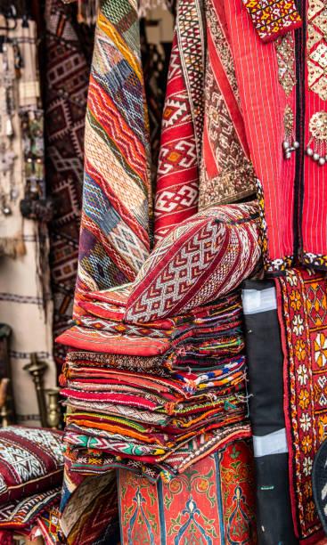 Carpet vendor, Medina in Marrakesh, Morocco stock photo