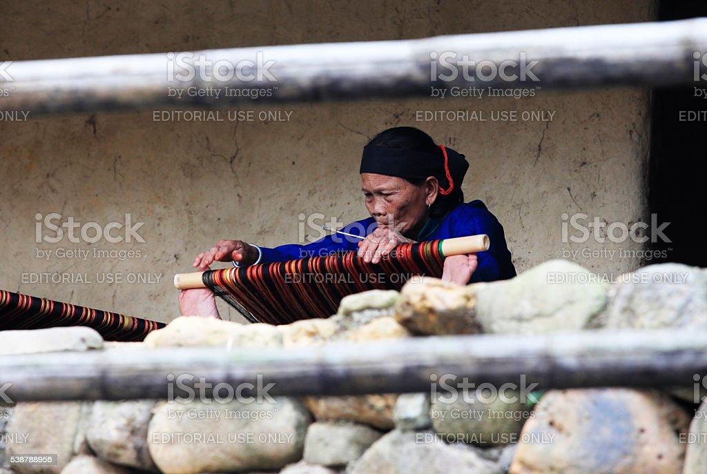 Carpet weaving stock photo