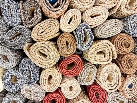 carpets background in carpets store many colors