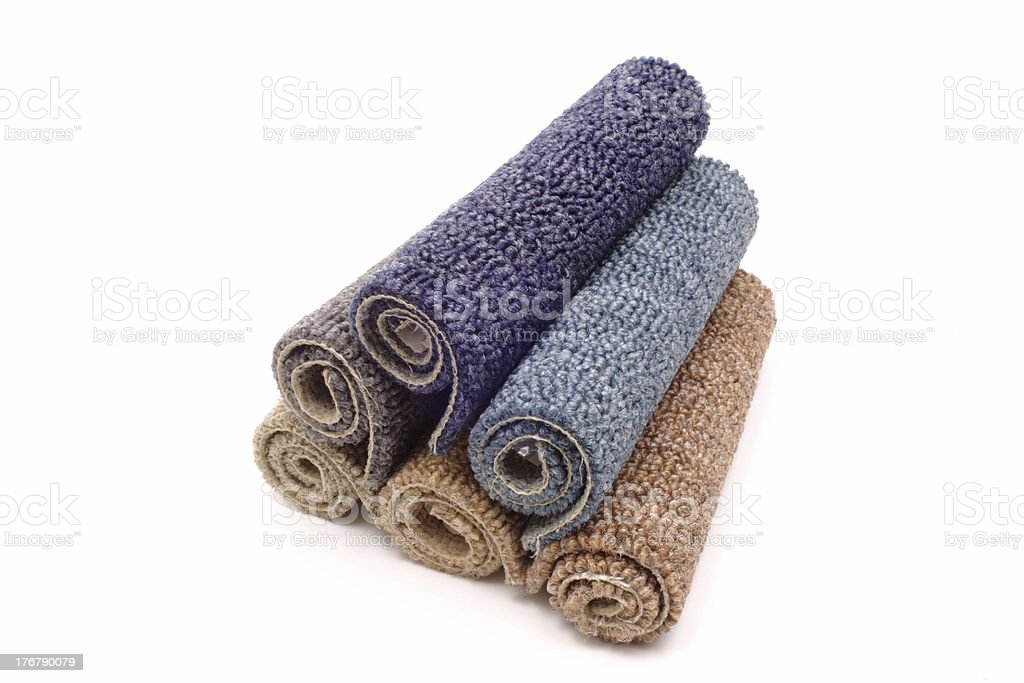 Carpets in a pile stock photo