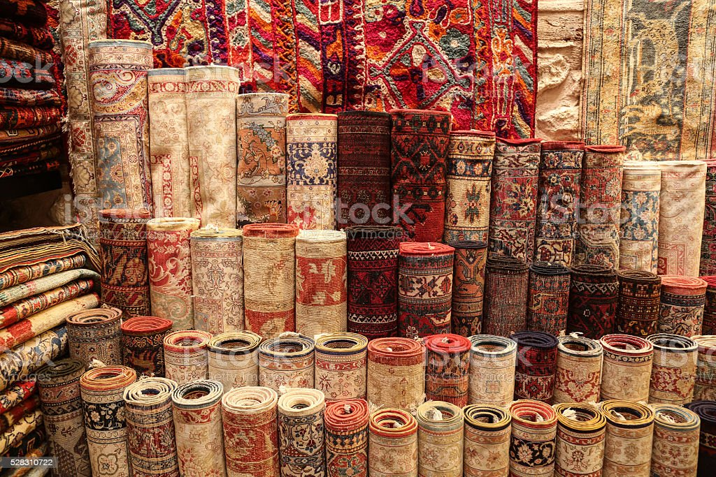 Stack of Carpets in Istanbul City, Turkey