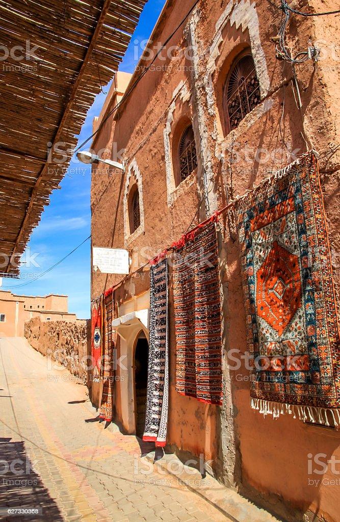 Carpets on sale in Ouarzazate medina stock photo