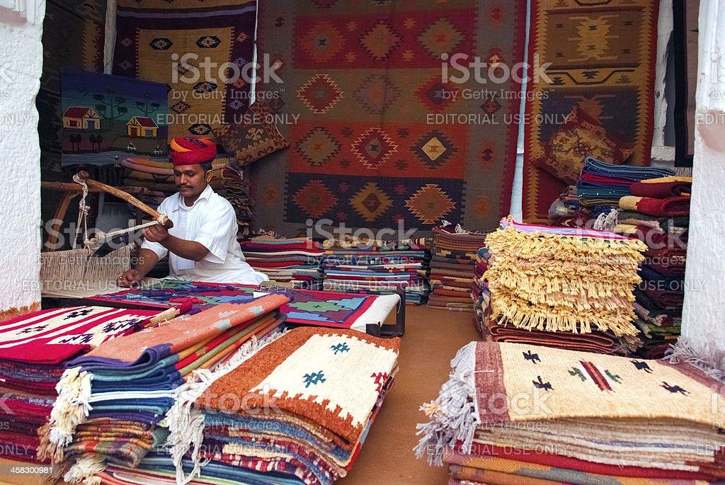 Carpet/tapestry weaving stock photo