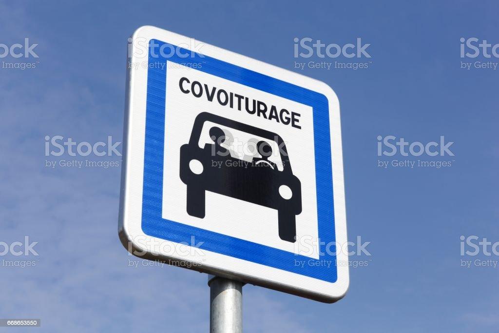 Carpool ponto painel na França - foto de acervo