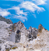 Carrara - marble quarry in Fantiscritti valley. Marble works of Miseglia. Apuan Alps mountains.