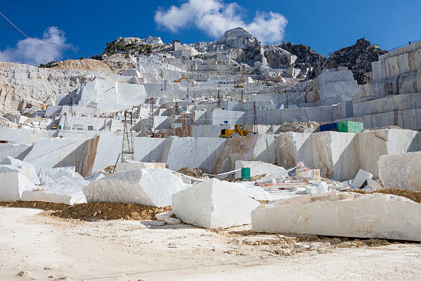 Carrara's marble quarry in Italy stock photo