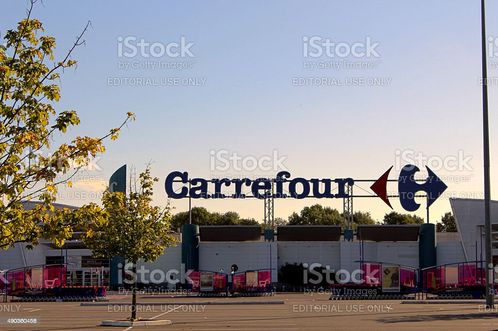 Carrefour store stock photo