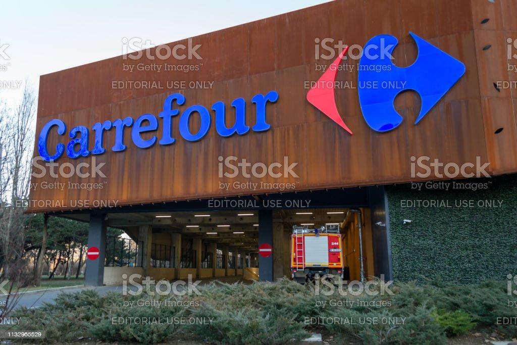 Carrefour Supermarket Logo On Parklake Shopping Center Mall