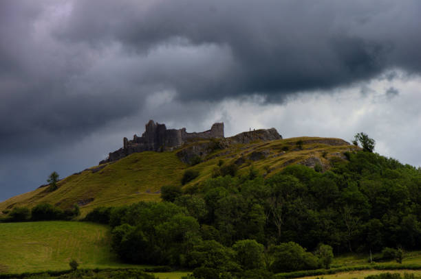 Carreg Cennen close to Llandeilo in Wales, UK. stock photo