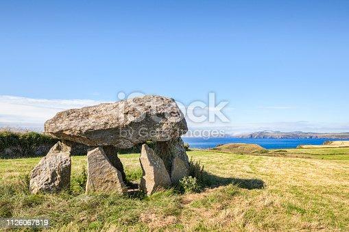 Carreg Samson, a Neolithic dolmen grave on the Pembrokeshire coast of Wales, near Abercastle .
