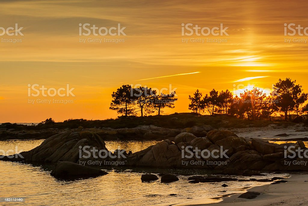 Carreiron Natural Park at sunset stock photo