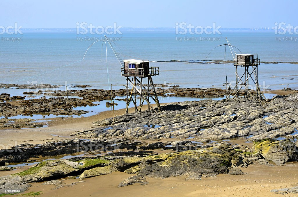 Carrelets at Saint-Michel-Chef-Chef in France royalty-free stock photo