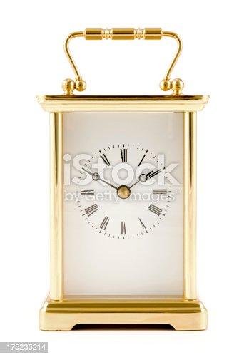 Carriage clock on a white background.