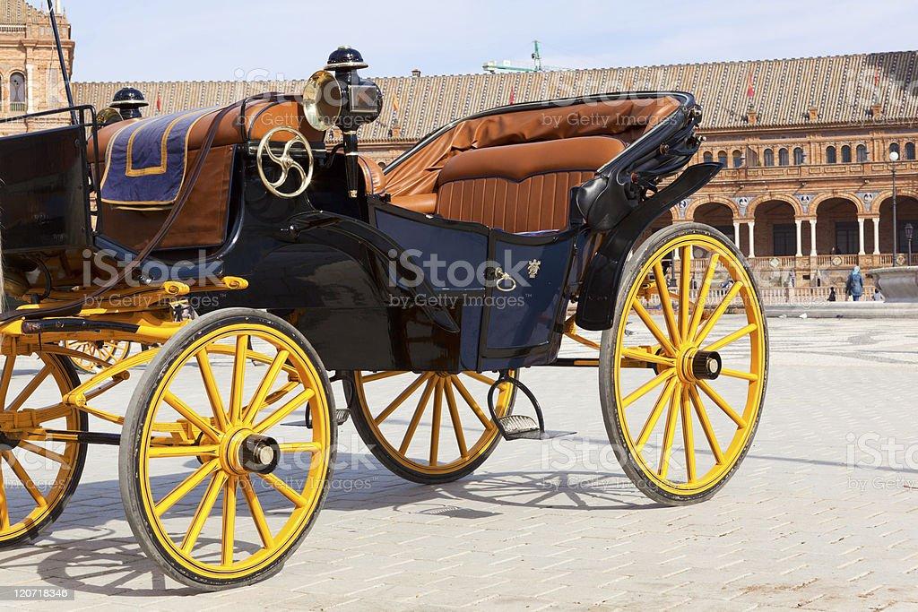 Carriage in front of Plaze de España, Seville royalty-free stock photo
