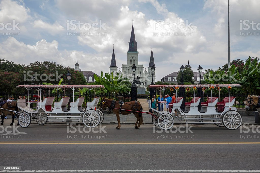 Carriage in front of the castle, New Orleans stock photo