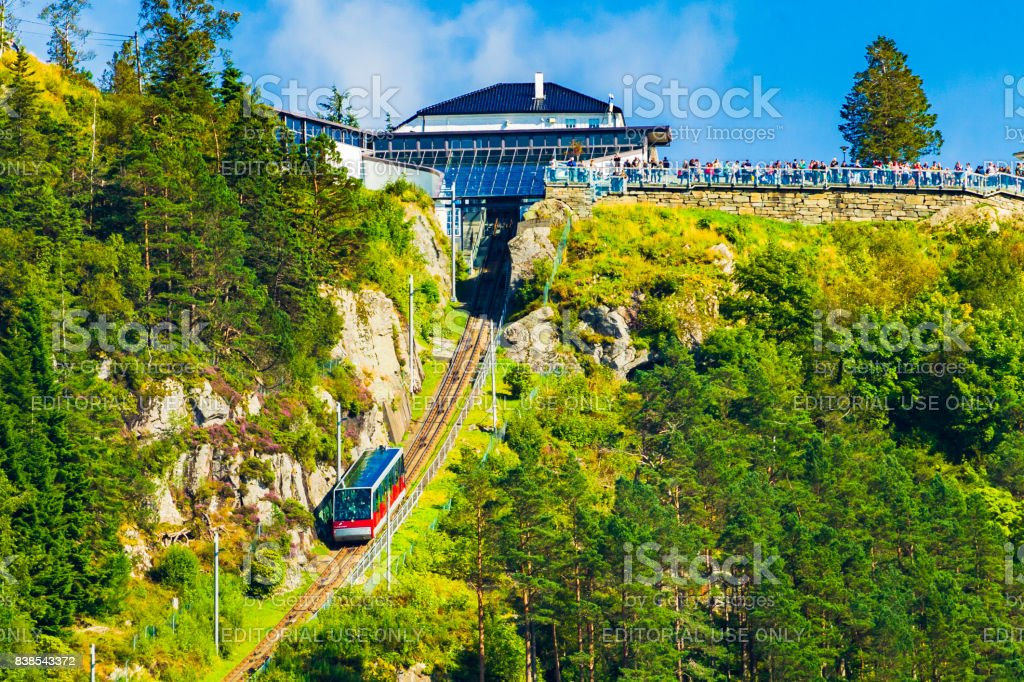 Carriage of the Funicular Railway in Bergen, Norway, climbing Mount Floyen. stock photo