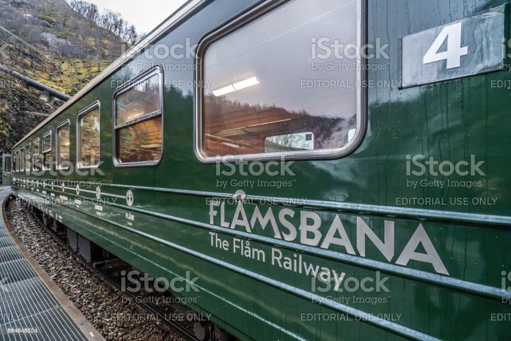 Carriage of the scenic Flamsbana train line stock photo