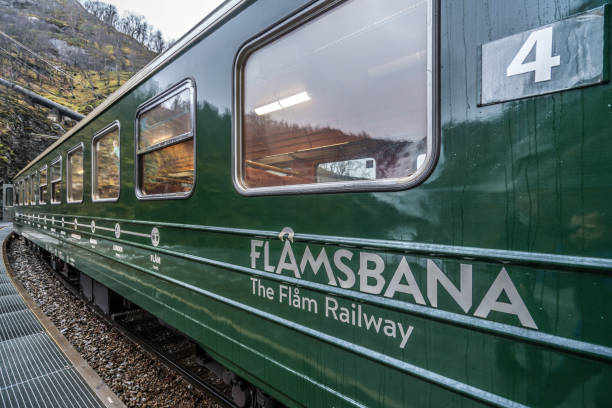 Carriage of the scenic Flamsbana train line stock photo