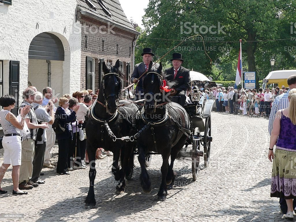 Carriage parade in the village stock photo