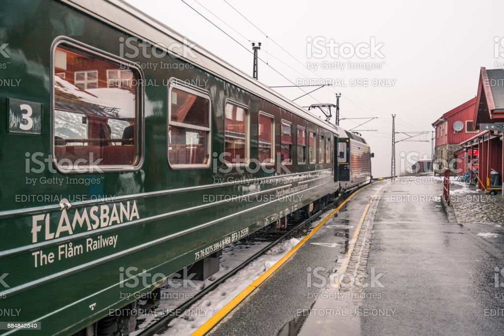 Carriages of the scenic Flamsbana train line stock photo