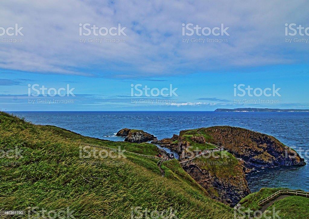 Carrick-a-Rede bridge to tiny Irish Coastal Island stock photo