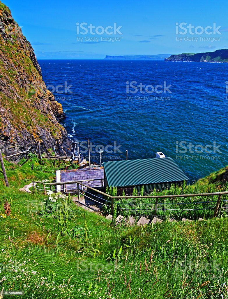 Carrick-a-Rede Irish Coastal Island boat launch stock photo