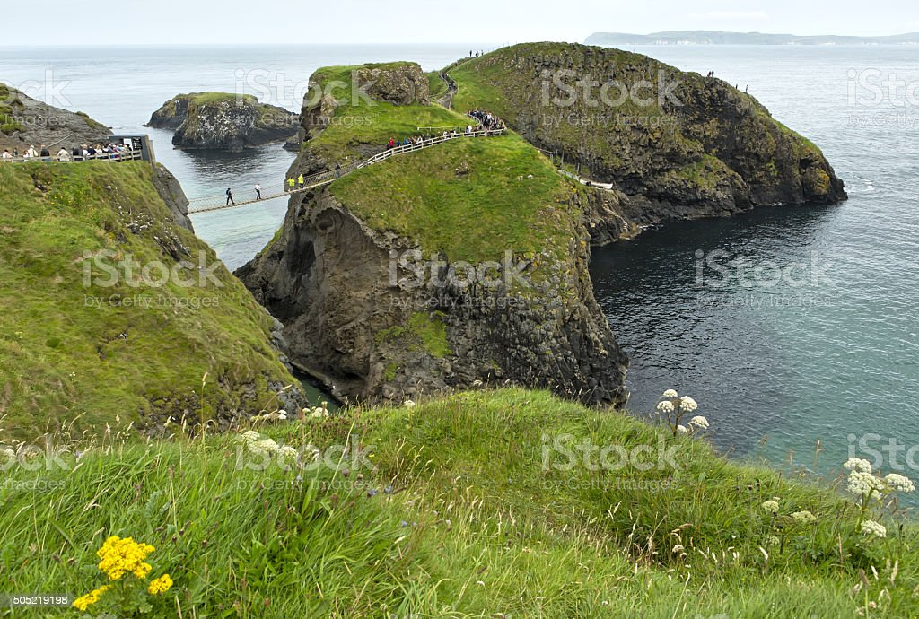Carrick-a-Rede rope bridge on the Causeway Coast stock photo