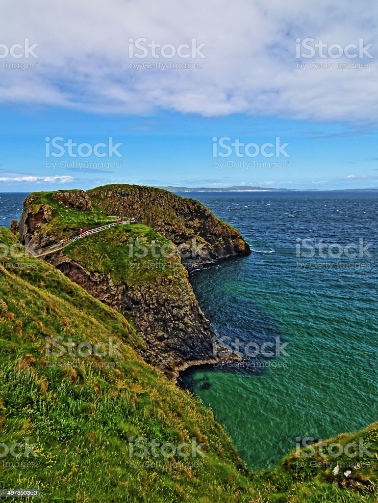 Carrick-a-Rede tiny Coastal Island stock photo