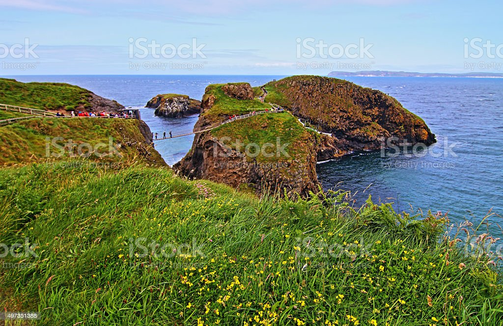 Carrick-a-Rede tiny Irish Island suspension rope bridge with flowers stock photo